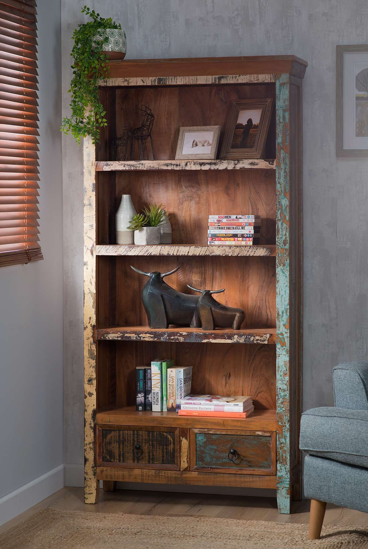 Reclaimed Indian Tall Bookcase Casa Bella Furniture Uk