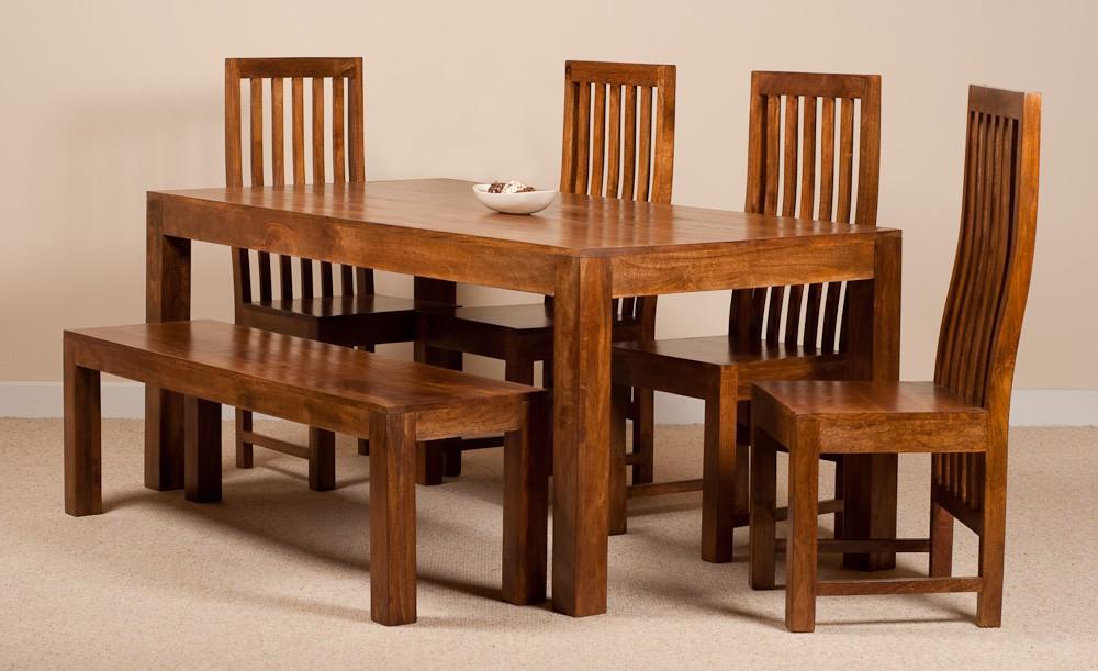Dakota Mango 6 Seater Dining Set With Bench Casa Bella Furniture Uk
