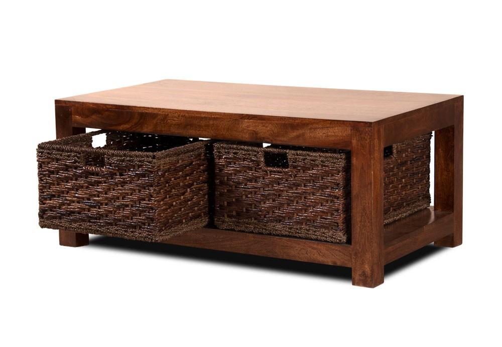 Dakota Mango Large Coffee Table With Baskets Casa Bella Furniture Uk