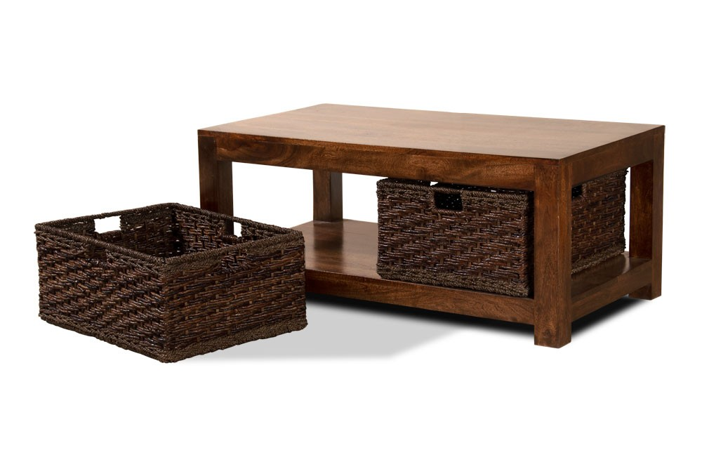 Dakota mango large coffee table with baskets casa bella furniture uk Coffee table baskets