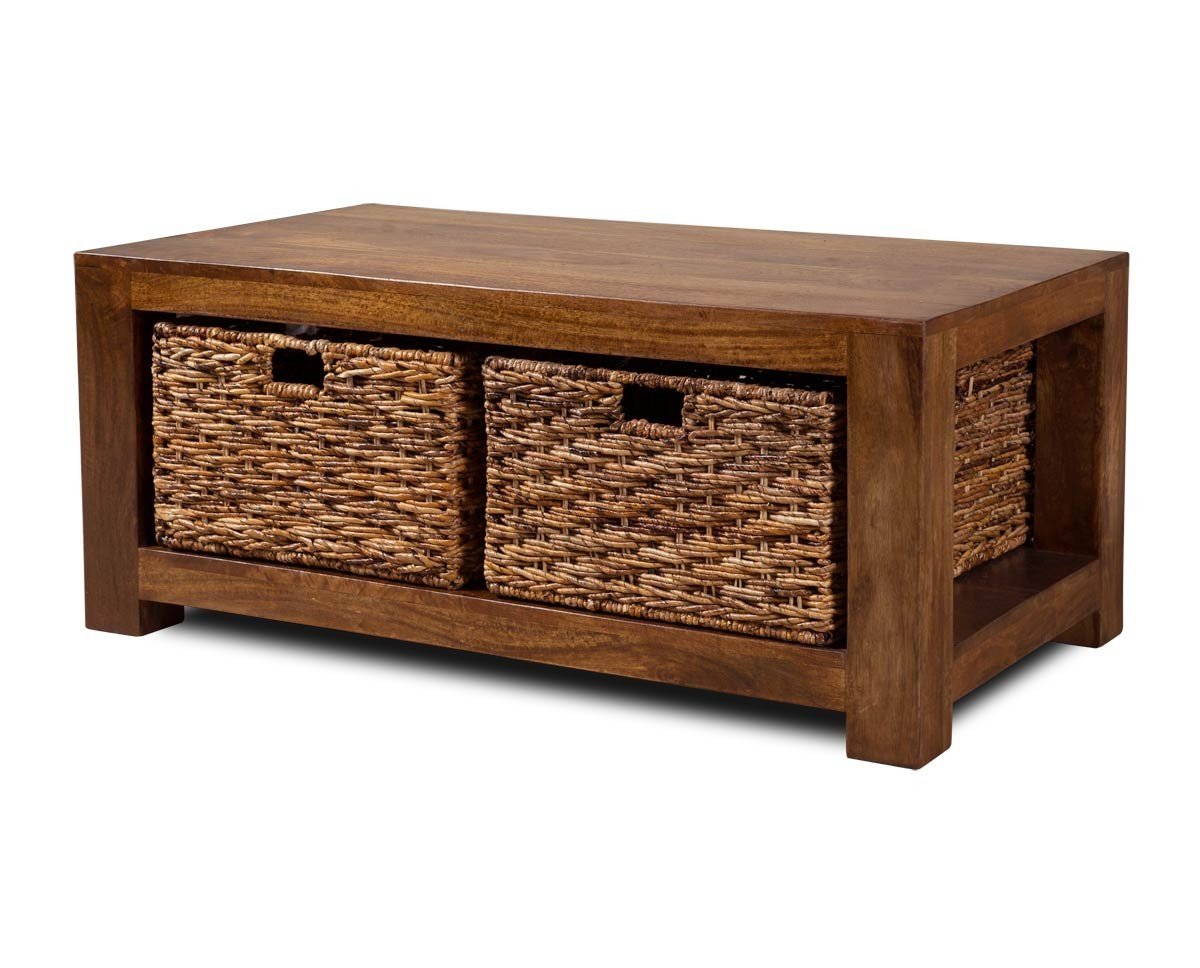 Dakota mango large coffee table with baskets casa bella for Furniture uk