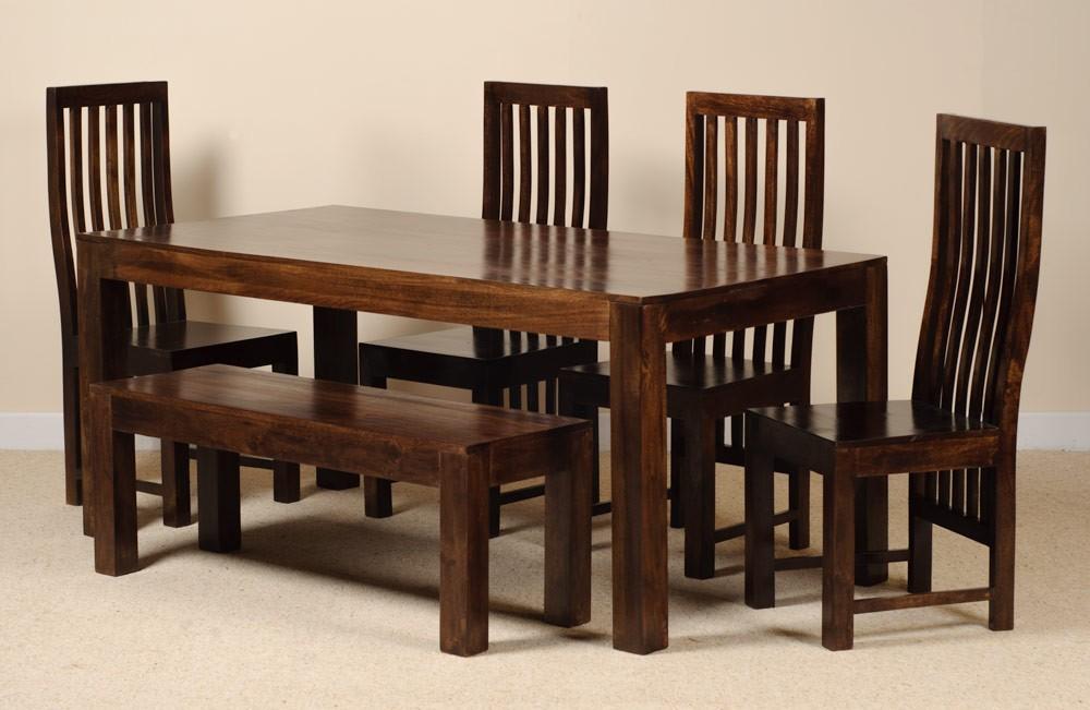 Dakota Dark Mango 6 Seater Dining Set With Bench