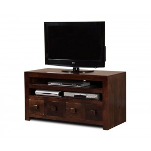 Dakota Dark Mango Medium 4 Drawer TV Unit 1