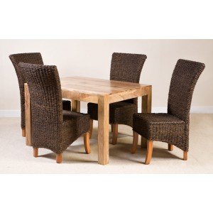 Erlina Rattan 4-Seater Light Mango Dining Set  1
