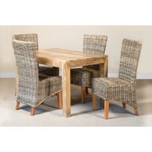 Kubu Rattan 4-Seater Light Mango Dining Set 1