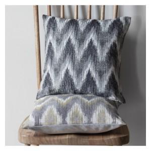 Kalsi Zig Zag Cushion Chartreuse & Grey