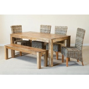 Kubu Rattan 6-Seater Light Mango Dining Set With Bench  1