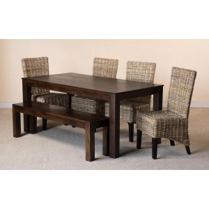 Kubu Rattan 6-Seater Dark Mango Dining Set With Bench  1