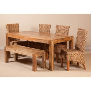 Milano Rattan 6 Seater Light Mango Dining Set With Bench 1