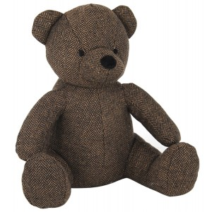 Dark Brown Fabric Bear Doorstop