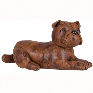 Brown Faux Leather Bulldog Doorstop