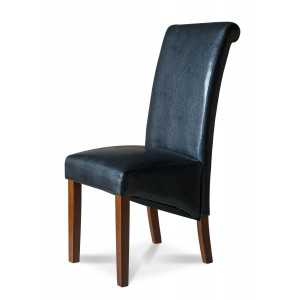 Verona Dark Brown Leather Dining Chair 1