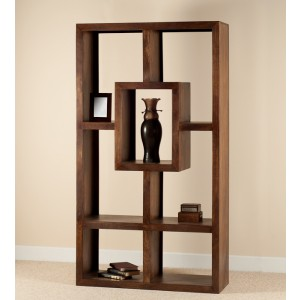 Mango Walnut Tall Open Bookcase-Shelving Unit 1