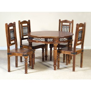Jali Sheesham Round 4-Seater Dining Set 1