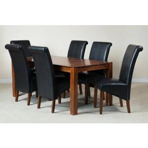 Mandir Sheesham & Leather 6-Seater Dining Set Dark 1