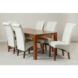 Mandir Sheesham & Leather 6-Seater Dining Set Ivory 1