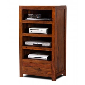 Mandir Sheesham Tall Hi-Fi Shelving Unit 1