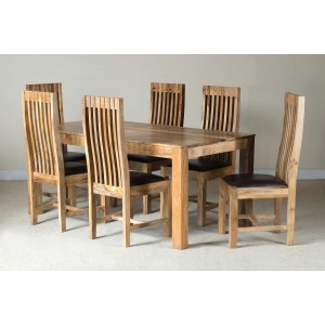Mango Natural 6-Seater Dining Set Leather Seat 1