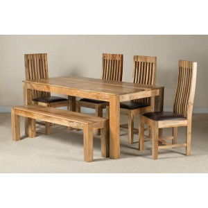 Mango Natural & Leather 6-Seater Dining Set With Bench 1
