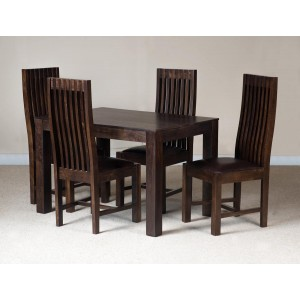 Mango Walnut 4-Seater Dining Set Leather Seat 1