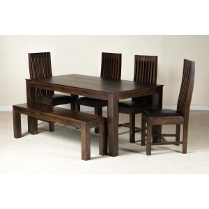 Mango Walnut & Leather 6-Seater Dining Set With Bench 1
