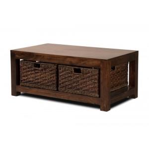 Dakota Dark Mango Large Coffee Table With Baskets 1