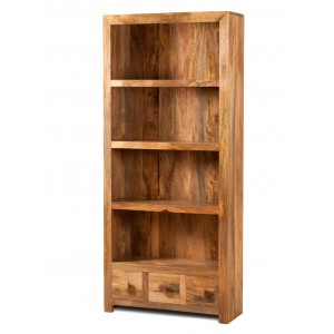 Dakota Light Mango 3-Drawer Bookcase 1