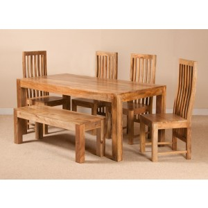 Dakota Light Mango 6 Seater Dining Set With Bench 1