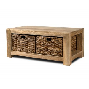 Dakota Light Mango Large Coffee Table With Baskets 1