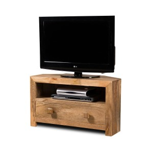 Dakota Light Mango Small Corner TV Stand 1