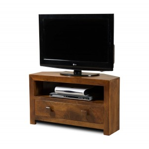 Dakota Mango Small Corner TV Stand 1