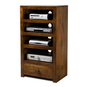 Dakota Mango Tall Hi-Fi Shelving Unit 1