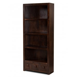 Dakota Dark Mango 3-Drawer Bookcase 1