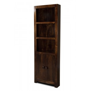 Dakota Dark Mango Corner Bookcase 1