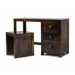 Dakota Dark Mango Dressing Table With Stool 1