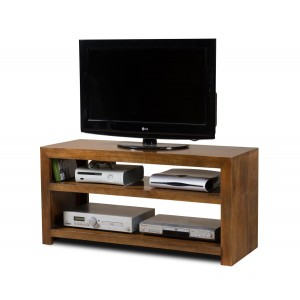 Dakota Mango Wide Hi-Fi Shelving Unit 1