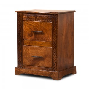 Shimla Carved Mango Bedside Table 1