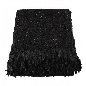 Black Sparkle Weave Large Throw 1