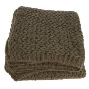 Brown Wool Ribbed Throw 1