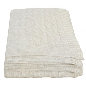 White Wool Twist Throw 1