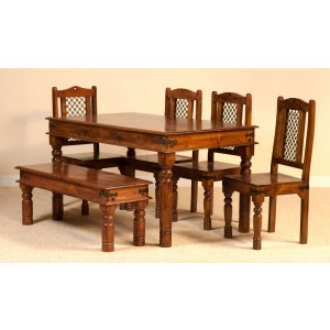 Tenali Mango 6 Seater Dining Set with Bench 1