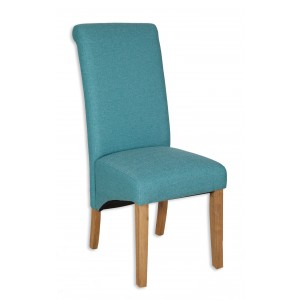 Aqua Fabric Dining Chair - Light Oak Legs