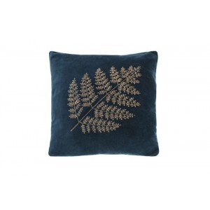 Velvet bronze fern cushion indigo