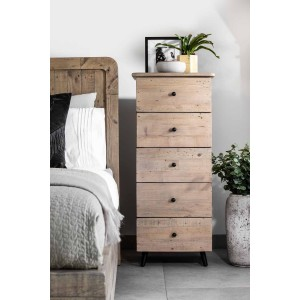 Seville Reclaimed 5 Drawer Tall Chest