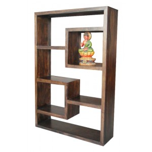 Soho Dark Mango Tall Open Straight Geometric Bookcase/Shelving Unit