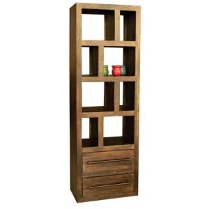 Soho Dark Mango Tall Open 2 Drawer Bookcase/Shelving Unit