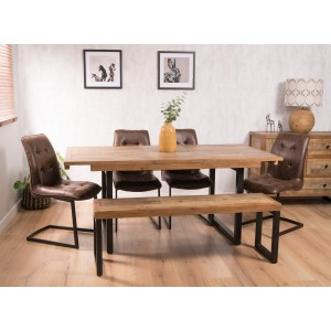 Brooklyn Industrial 6-Seater Extending Dining Bench Set