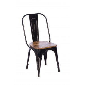 Imari Industrial Metal Dining Chair with Wooden Seat (Black)