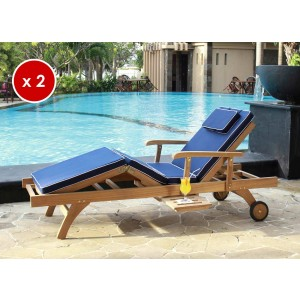 Pair of Bedford Sun Lounger Cushions - Navy Blue