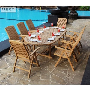 Hampshire 8-Seater Reclining Teak Set 1